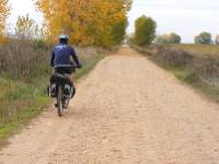 Cycling the clear paths near Leon on the Camino