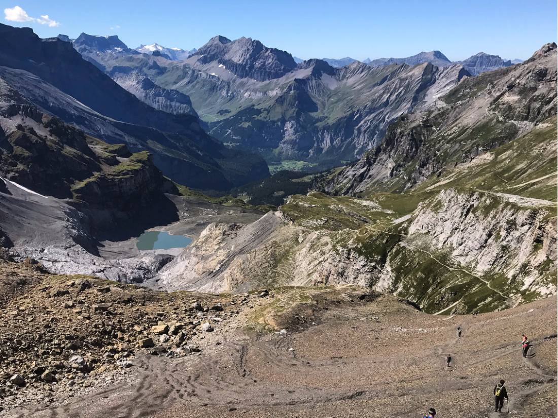 Hiking down off the Hohturli Pass |  <i>Nicola Croom</i>
