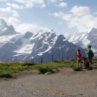 Children in front of the Schreckhorn in the Bernese Oberland | Ross Baker