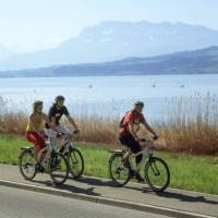 Cycling along the lake in middle Switzerland