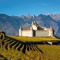 Stunning scenery and Aigle Castle along the Via Francigena in Switzerland