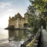 Chillon Castle on Lake Geneva, passed on the Via Francigena to Italy