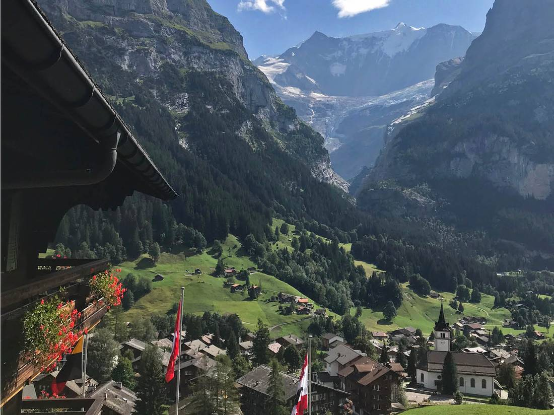 Grindelwald, the view from our hotel after a day out hiking on the Via Alpina |  <i>Nicola Croom</i>