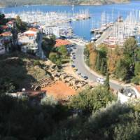 Serene view of Fethiye complete with an ancient amphitheatre