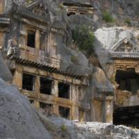 Ancient structures carved into the hillside in Myra in Turkey