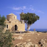 A small stone church overlooking Protaras on the island of Cyprus