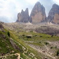 Tre Cime from the winding trail below the Locatelli Hut