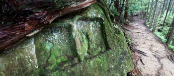 Sacred 'jizo' carvings on the Dainichi Goe, Kumano Kodo