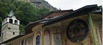 A painted monastery on the Bulgaria & Romania on Foot trip