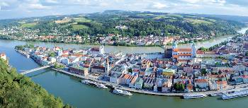 Passau in the southeast of Germany is located at the Austrian border at the confluence of the Danube, Inn and Ilz rivers