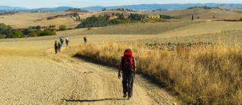 Pilgrims making their way towards Rome on the Via Francigena