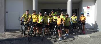 Cycling group outside their hotel in Portugal | Dennis Dawson